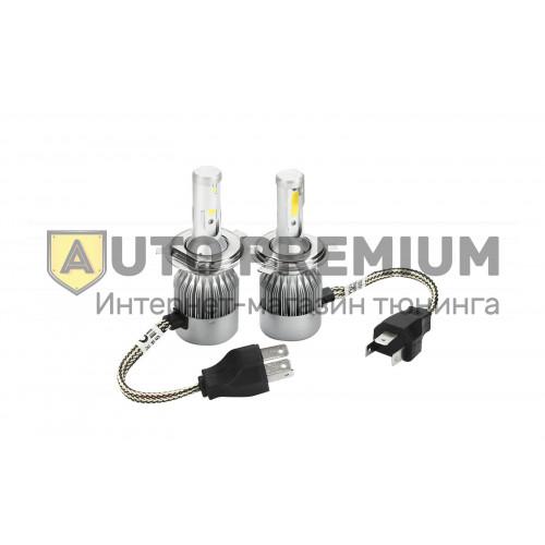 Светодиодные лампы Super LED C9 H7 6000К с вентилятором охлаждения (пара)
